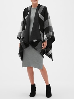 Black Plaid Reversible Poncho