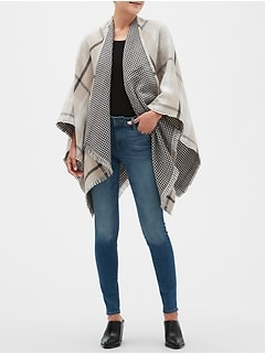 Camel Plaid Reversible Poncho