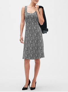 Petite Geo Print Fit and Flare Dress