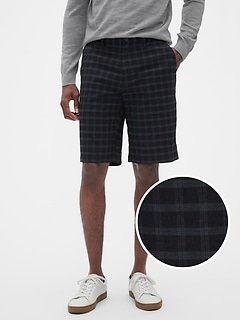 "11"" Emerson Straight-Fit Black Grey Plaid Shorts"