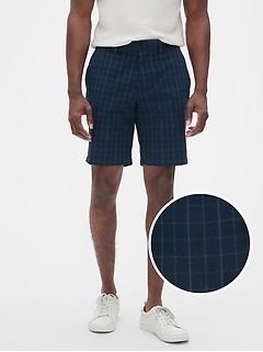 "10"" Aiden Slim-Fit Navy Green Plaid Shorts"