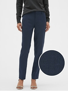 Petite Washable Ryan Blue Plaid Slim Straight Pant