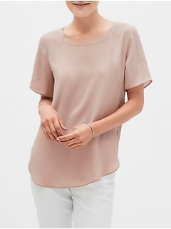 Petite Hi-Low Hem Crew Neck Top