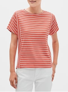 Stripe Paneled Dolman Sleeve T-Shirt