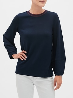 Lantern-Sleeve Stripe-Neck Top