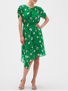 Petite Print Asymmetrical Fit and Flare Dress