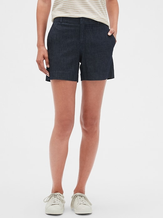 Tailored Chambray Pique Shorts - 5 inch inseam