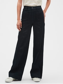 High Rise Wide Leg Denim Rinse Jean