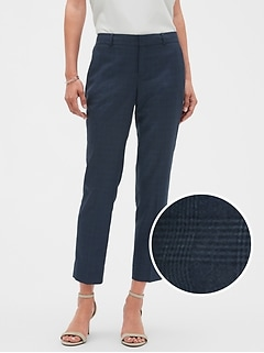 Petite Machine Washable Avery Blue Plaid Suit Pant