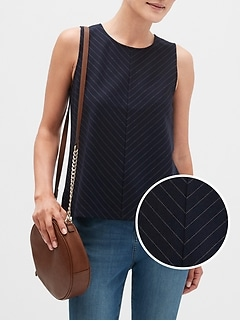Petite Structured Pinstripe Shell Top