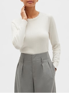 Petite Washable Forever Scallop Crew Neck Sweater