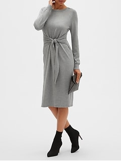 Tie-Front Sweater Dress