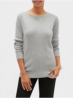 Diagonal Stitch Boat Neck Sweater