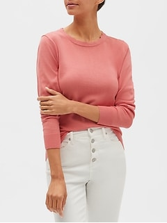 Petite Washable Forever Scallop Crew-Neck Sweater