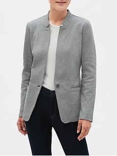 Petite Classic Knit Twill Inverted Collar Blazer