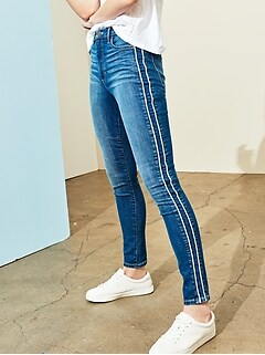 High Rise Medium Wash Double Side Stripe Skinny Jean