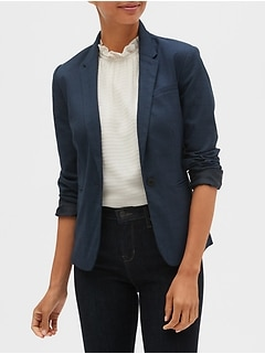 Petite Machine Washable Blue Plaid Classic Blazer