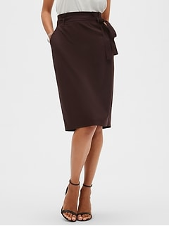 Petite Burgundy Tie Waist Pencil Skirt