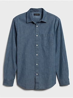 Slim-Fit Soft-Wash Chambray Shirt