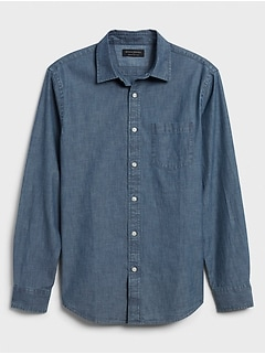 Standard-Fit Soft-Wash Chambray Shirt