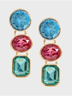 Triple Gem Drop Earrings