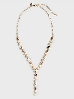 Mixed Pearl Lariat Necklace