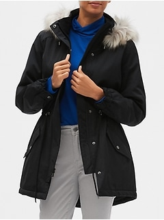 Petite Faux Fur Hooded Water Resistant Parka