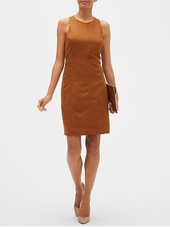Halter Vegan Suede Sheath Dress