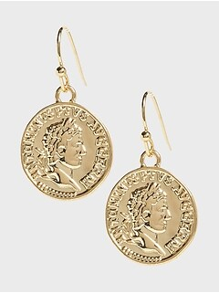 Single Coin Drop Earrings
