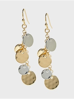 Metallic Disc Drop Earrings