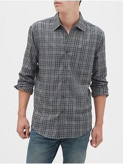 Slim-Fit Untucked Flannel Shirt