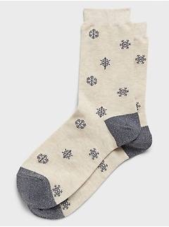 Shine Snowflake Trouser Socks