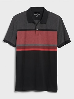 Birdseye Blocked Stripe Pique Polo