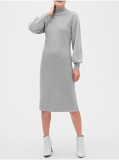 Lantern-Sleeve Mock-Neck Midi Sweater Dress
