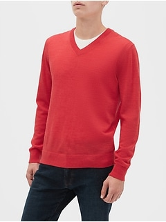 Machine Washable Merino V-Neck Sweater