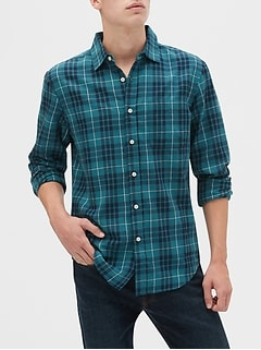 Slim-Fit Untucked Flannel Shirt