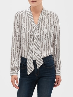 Chain Print Tie-Neck Blouse