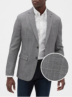 Slim-Fit Grey Glenn Plaid Blazer