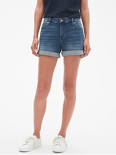 Medium Wash Denim Roll-Cuff Shorts - 4 inch inseam