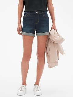 Denim Roll-Cuff Shorts - 4 inch inseam