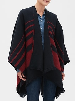 Navy Stripe Reversible Poncho