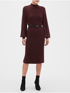 Petite Lantern Sleeve Mock-Neck Midi Sweater Dress