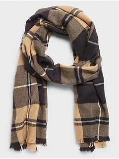 Camel Traditional Plaid Scarf