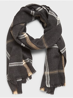 Grey Camel Large Plaid Scarf
