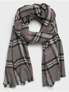 Grey Black Red Plaid Scarf
