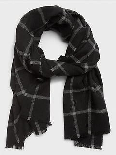 Black Windowpane Scarf