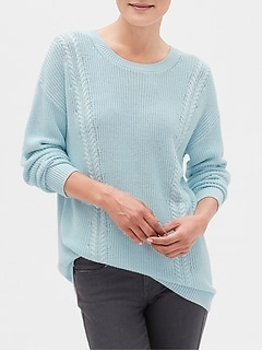 Side Stitch Crew Neck Sweater