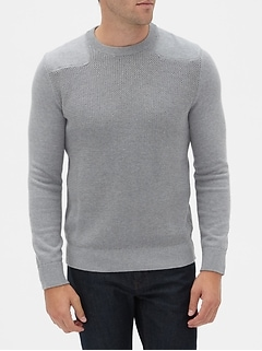 Shoulder Patch Crew-Neck Sweater