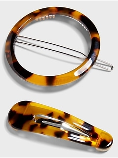 Tortoise Shell Barrettes (2 Pack)