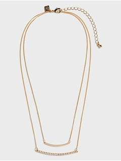 Pave Double Bar Necklace